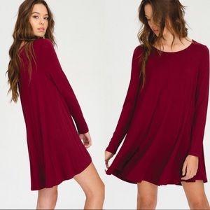 Red loose tunic flare mini shirt dress